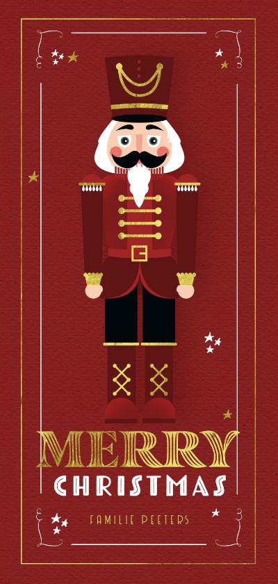 Kerstkaarten - Kerstkaart notenkraker vintage rood kerst speelgoed