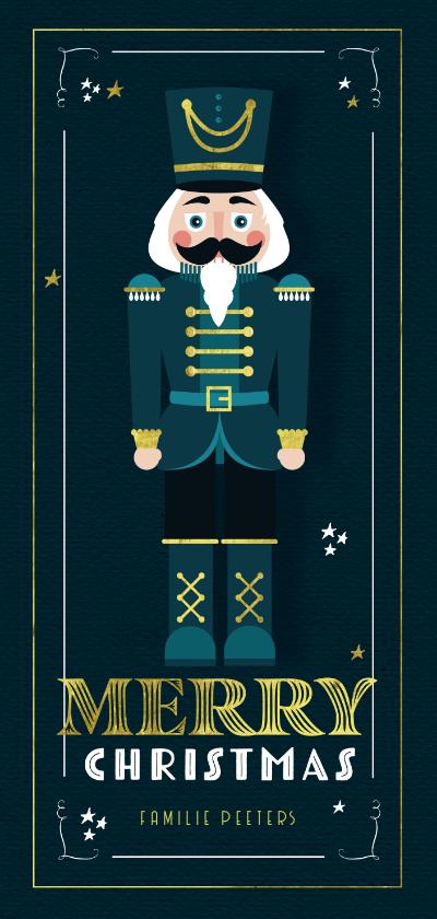 Kerstkaarten - Kerstkaart notenkraker vintage sterren goud illustratie