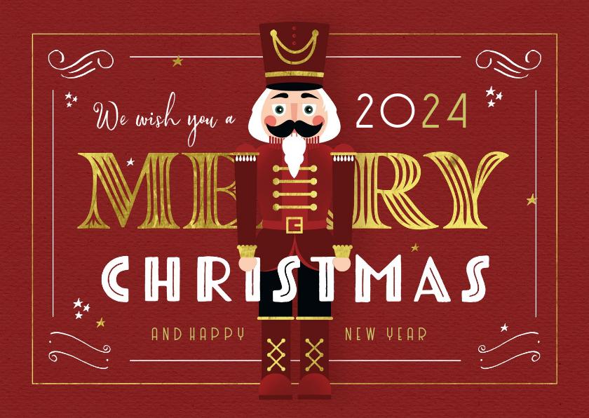 Kerstkaarten - Kerstkaart nutcracker vintage retro merry christmas