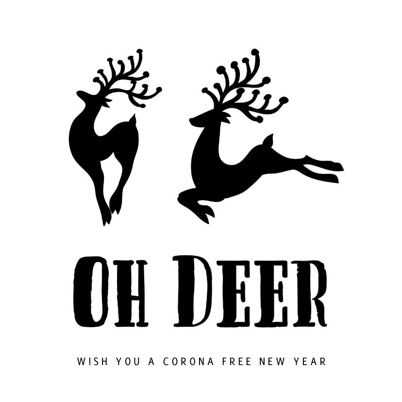 Kerstkaarten - Kerstkaart Oh Deer Zwart Wit - cornafree