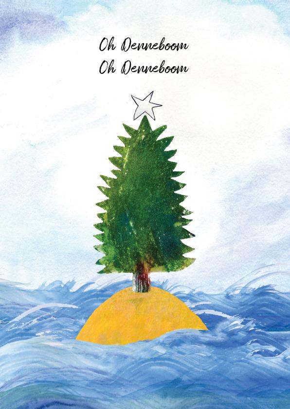 Kerstkaarten - kerstkaart oh denneboom illustratie