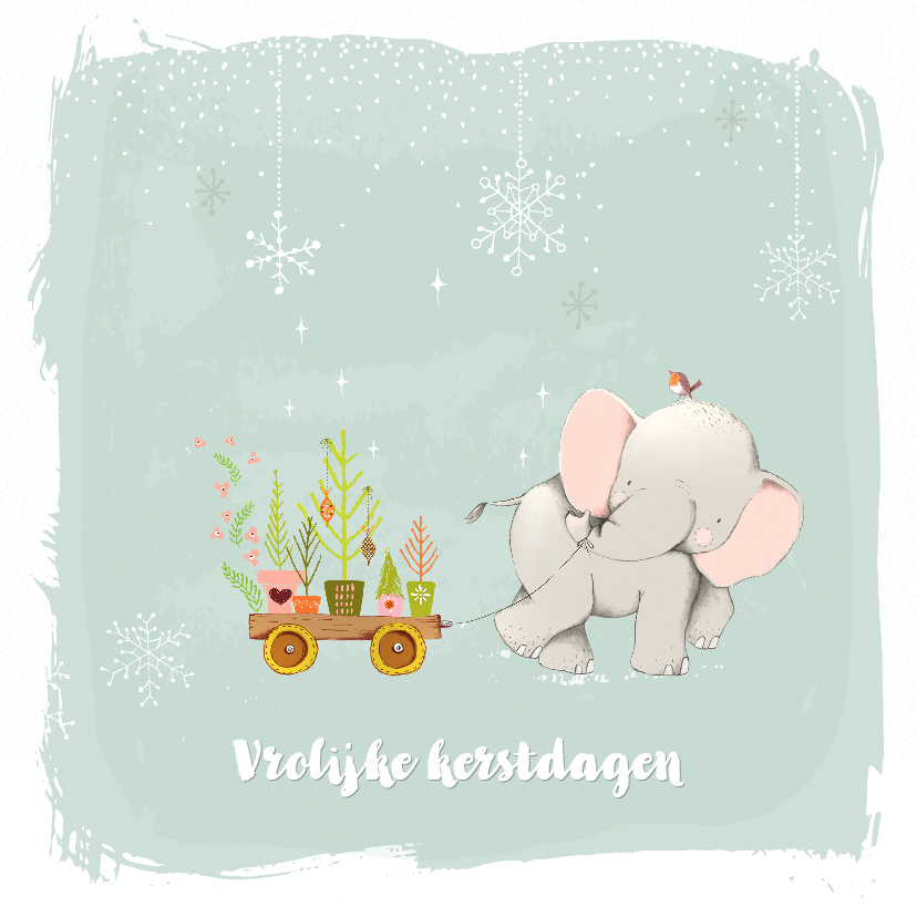 Kerstkaarten - Kerstkaart olifant met kerstboompjes