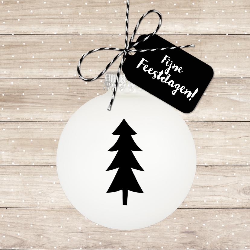 Kerstkaarten - Kerstkaart op houten achtergrond witte kerstbal