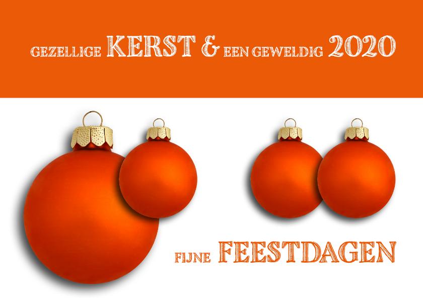 Kerstkaarten - Kerstkaart oranje kerstballen retro 2019
