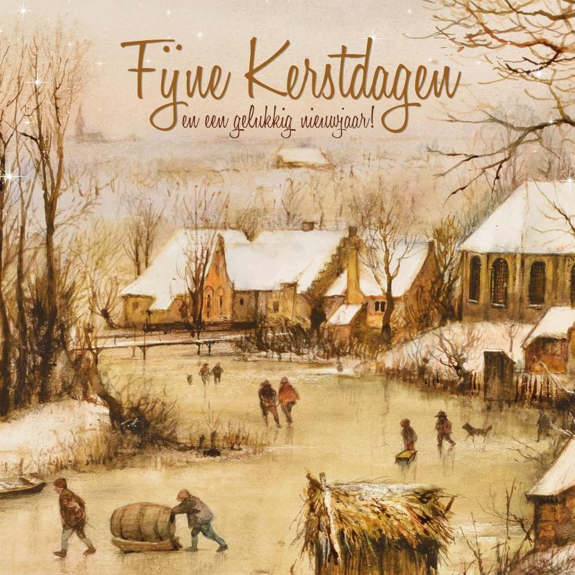Kerstkaarten - Kerstkaart Oudhollands winterlandschap