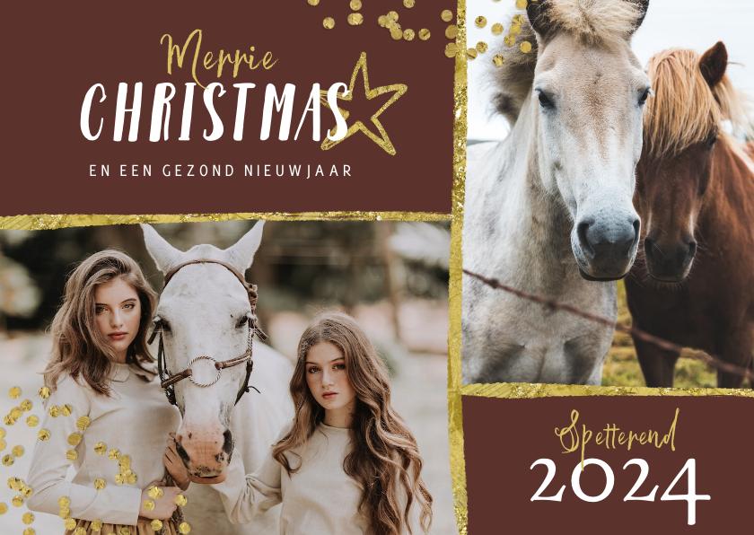 Kerstkaarten - Kerstkaart paarden goud stijlvol manege sterren