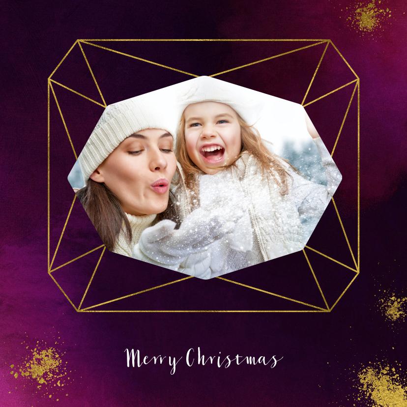 Kerstkaarten - Kerstkaart paars verf met diamantvorm en goudspetters
