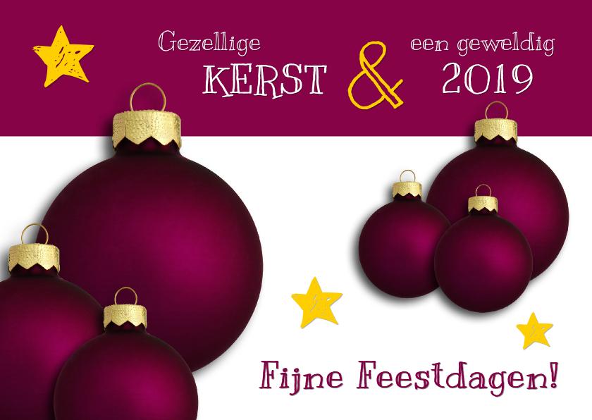 Kerstkaarten - Kerstkaart paarse kerstbal 2019 - OT