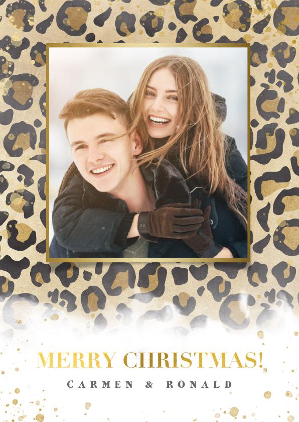 Kerstkaarten - Kerstkaart panterprint, gouden spetters en Merry Christmas