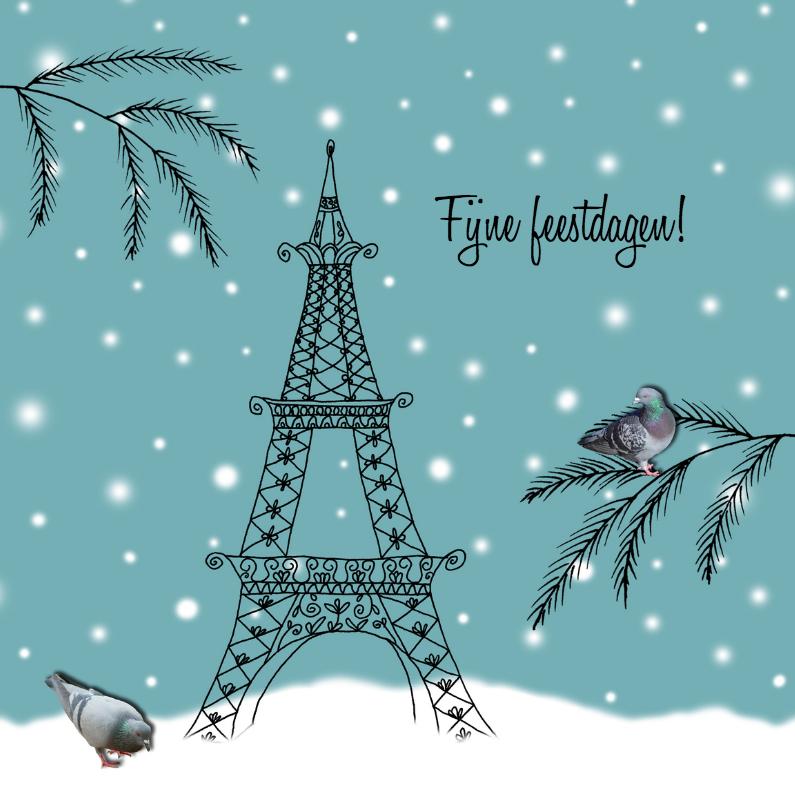 Kerstkaarten - Kerstkaart Parijs blauw-HR