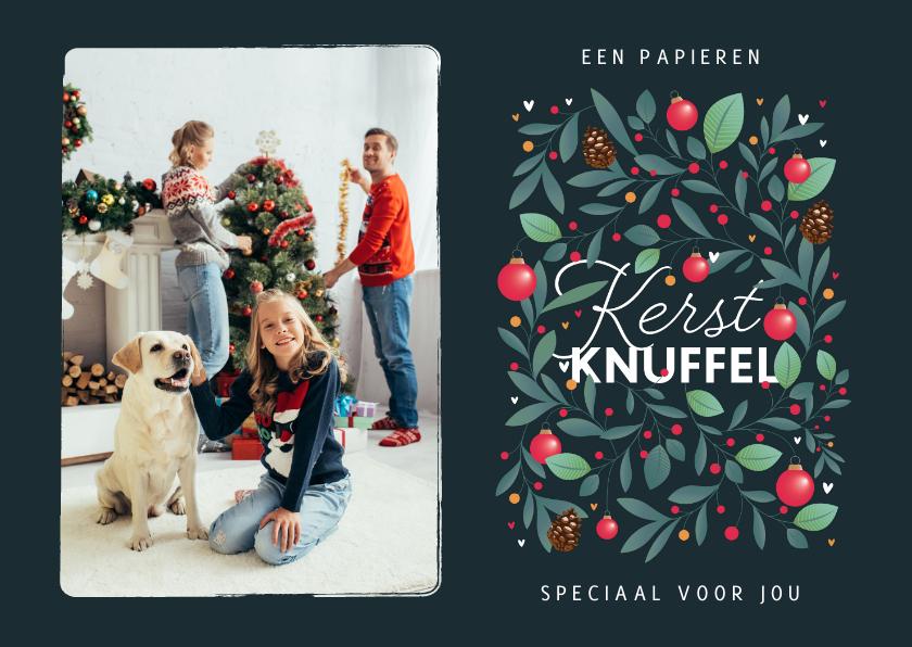 Kerstkaarten - Kerstkaart persoonlijk papieren kerstknuffel kerstballen