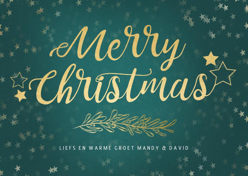 Kerstkaarten - Kerstkaart petrol liggend gouden sterren - een gouden kerst