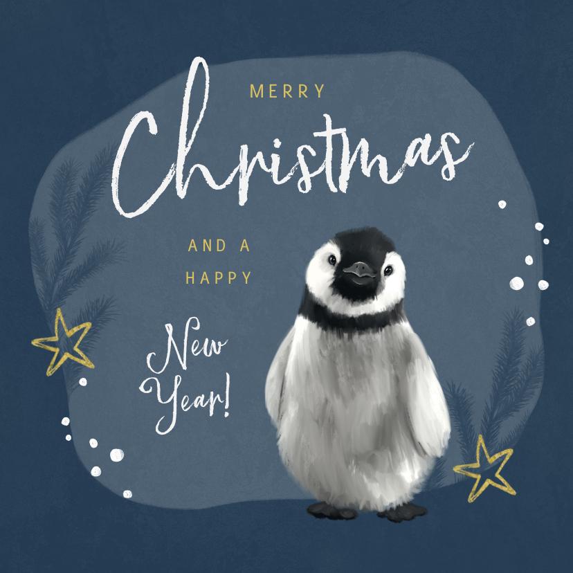 Kerstkaarten - Kerstkaart pinguïn illustratie winter goud sterren