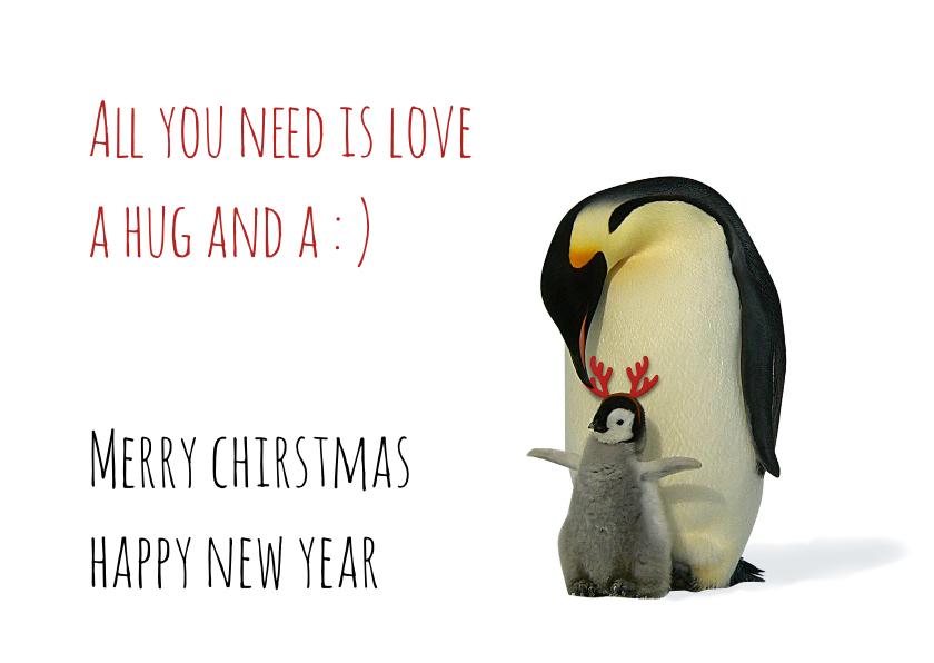 Kerstkaarten - Kerstkaart pinguin, kleintje en gewei