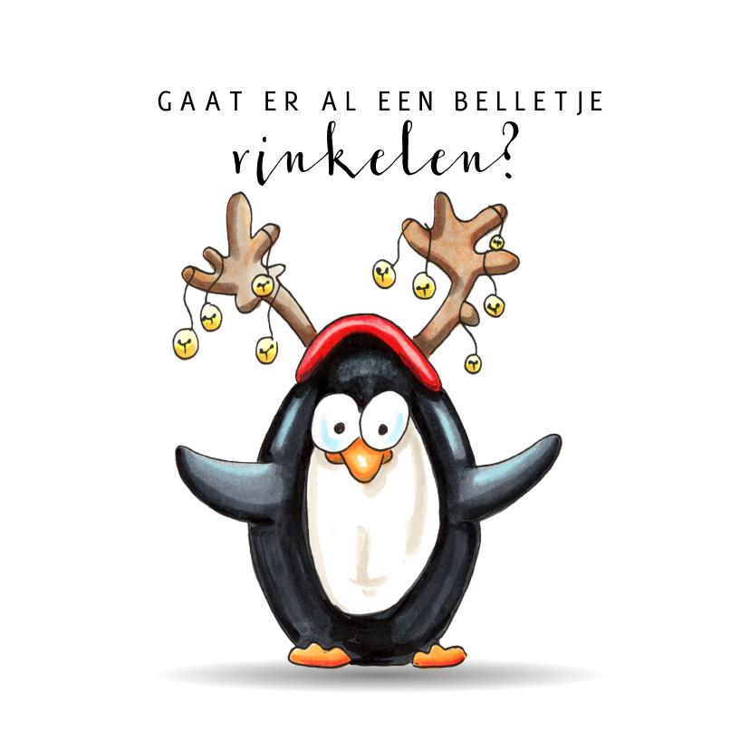 Kerstkaarten - Kerstkaart pinguïn met belletjes