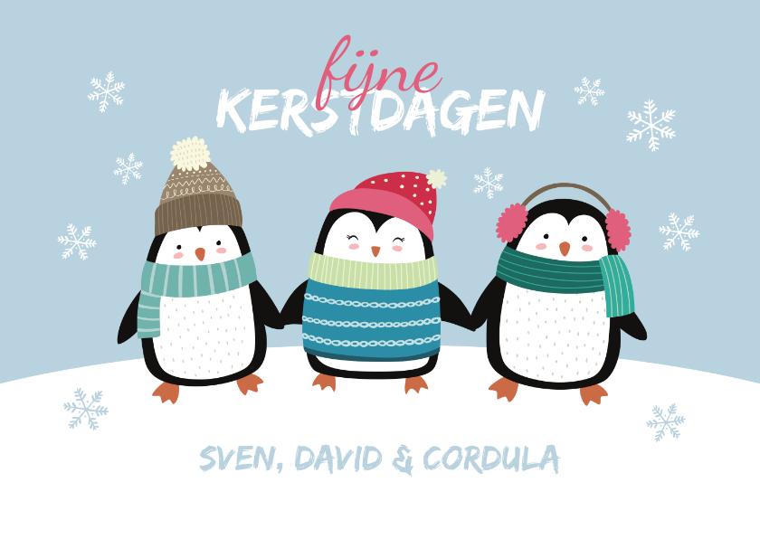 Kerstkaarten - Kerstkaart pinguïns in de sneeuw