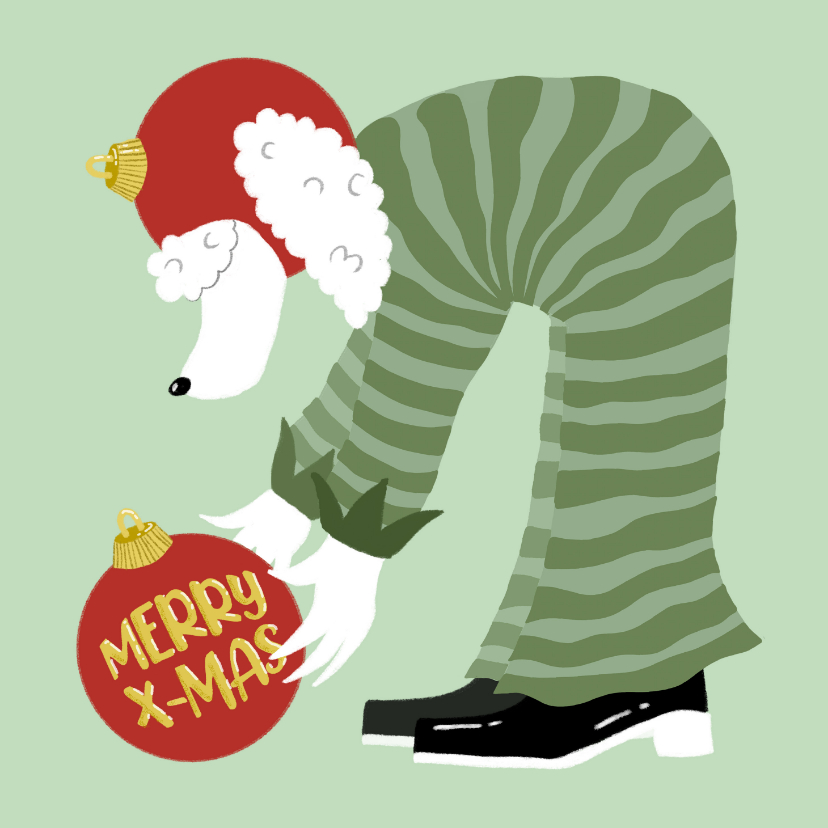 Kerstkaarten - Kerstkaart Poedel met kerstballen Merry X-Mas