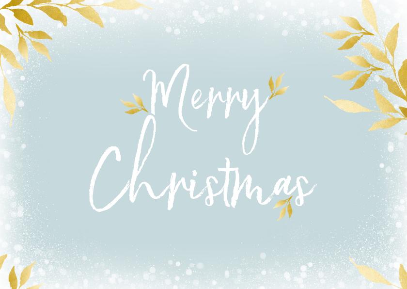 Kerstkaarten - Kerstkaart rechthoek Merry Christmas en gouden blaadjes