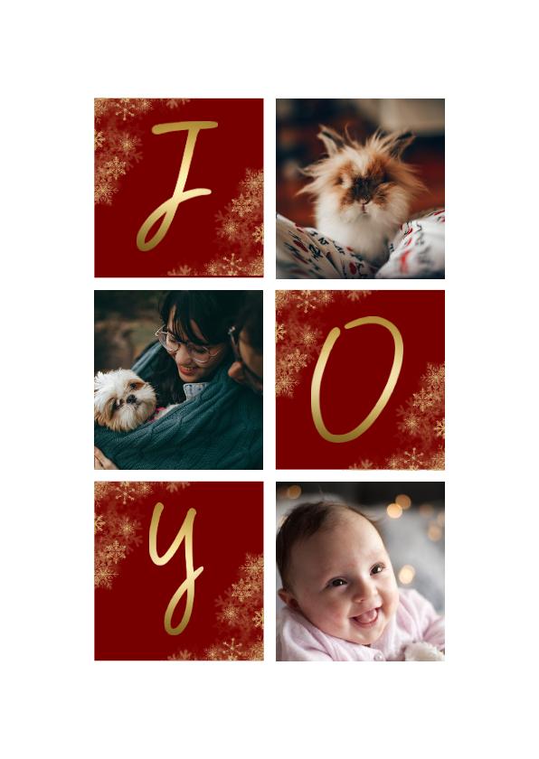Kerstkaarten - Kerstkaart rechthoekig JOY met vakjes en foto's