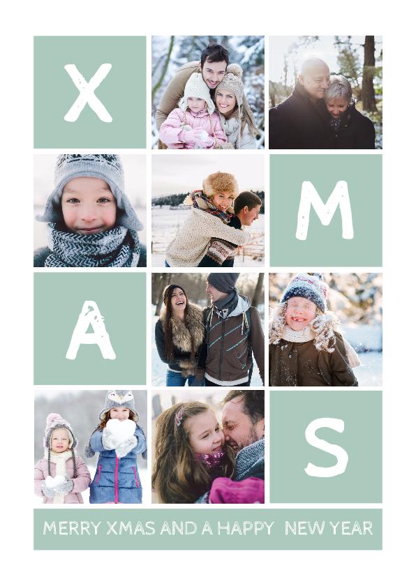 Kerstkaarten - Kerstkaart rechthoekig XMAS met vakjes en foto's