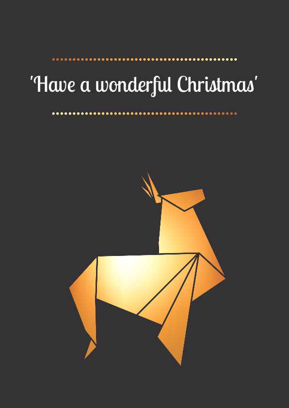 Kerstkaarten - Kerstkaart Rendier origami
