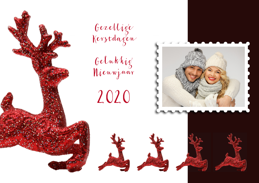 Kerstkaarten - Kerstkaart rendier rood eigen foto 2019