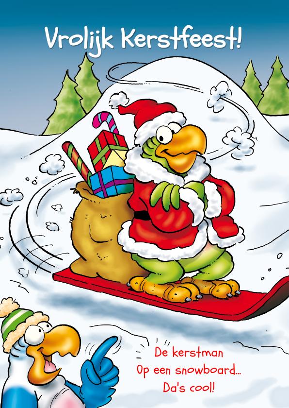 Kerstkaarten - Kerstkaart Rocco snowboard