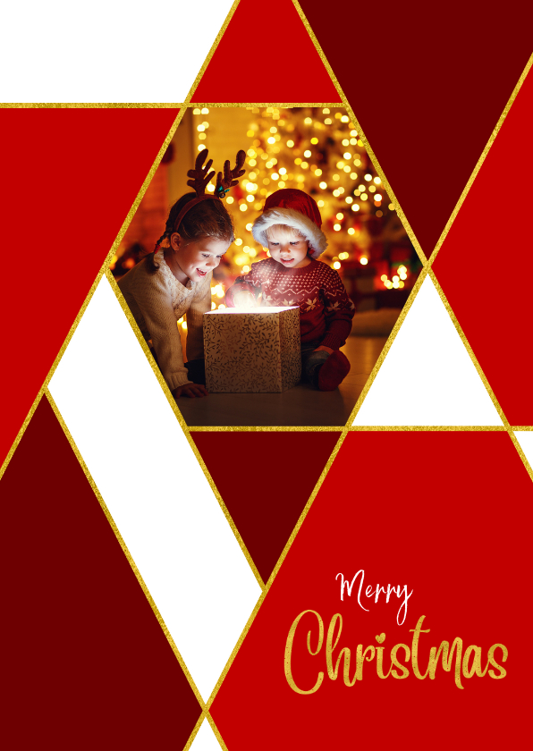 Kerstkaarten - Kerstkaart rode ruiten goud en eigen foto
