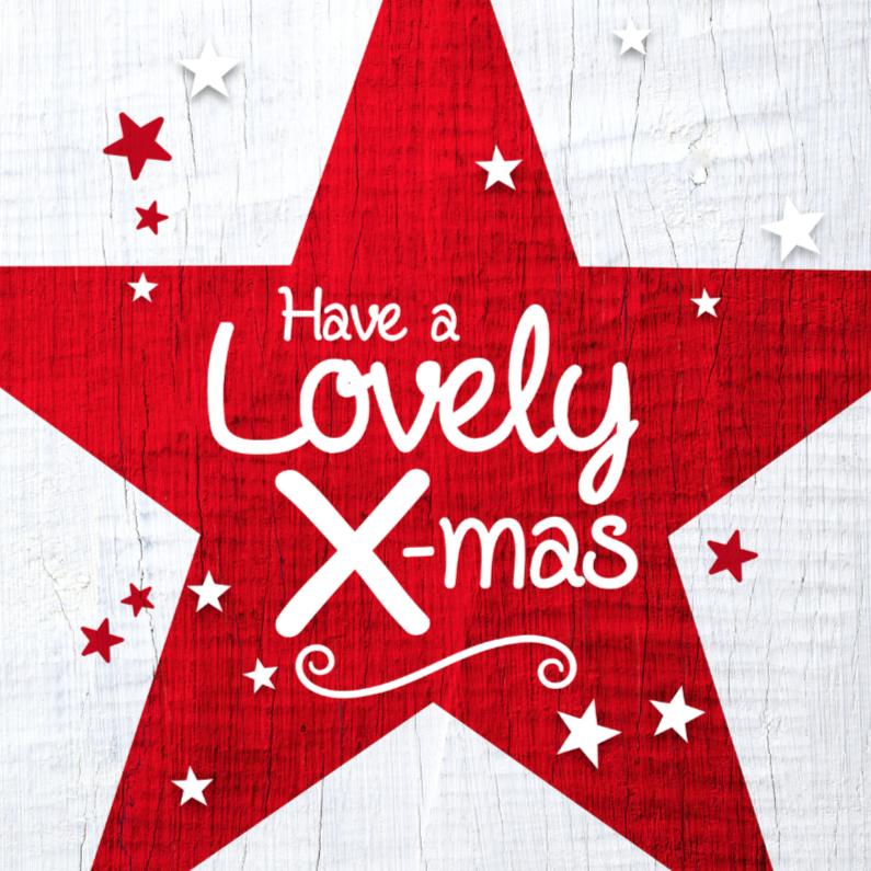 Kerstkaarten - Kerstkaart rode ster wit hout