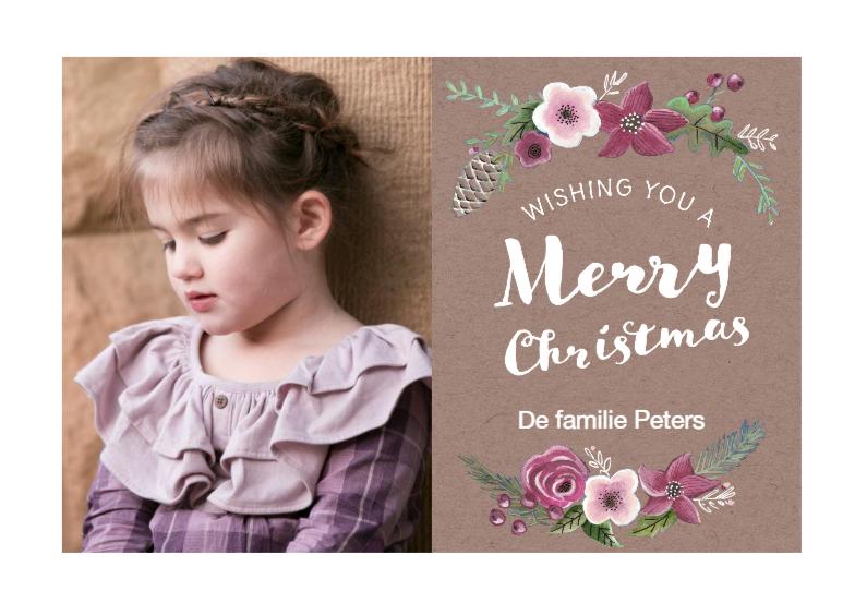 Kerstkaarten - Kerstkaart Romantisch Bloemen