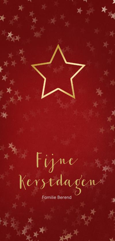 Kerstkaarten - Kerstkaart rood en kerstster van goud - Een gouden kerst