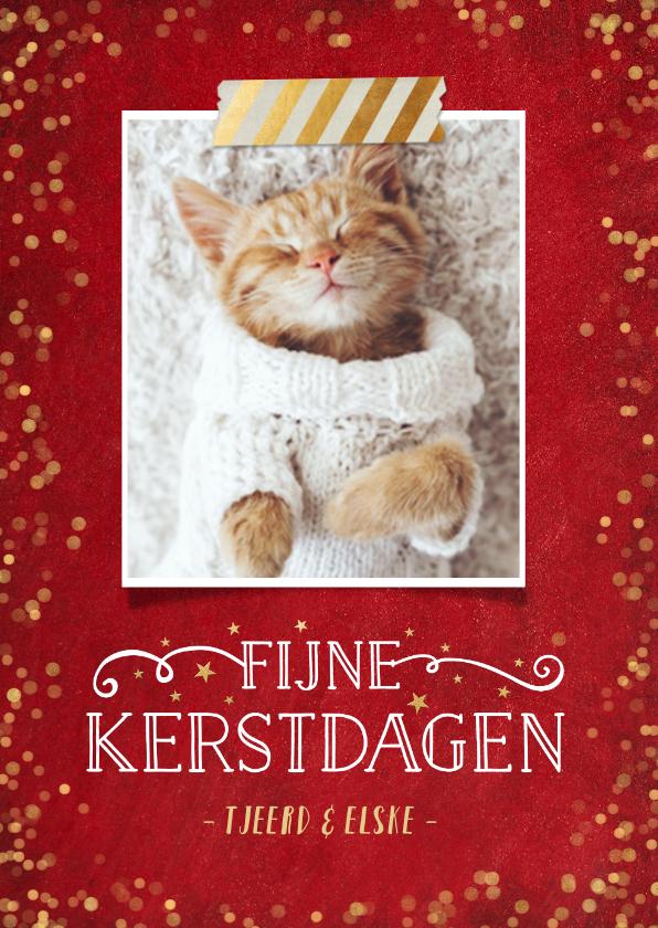Kerstkaarten - Kerstkaart rood met gouden confetti en eigen foto