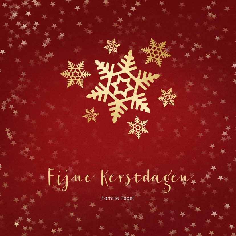 Kerstkaarten - Kerstkaart rood met gouden sneeuwvlok - een gouden kerst