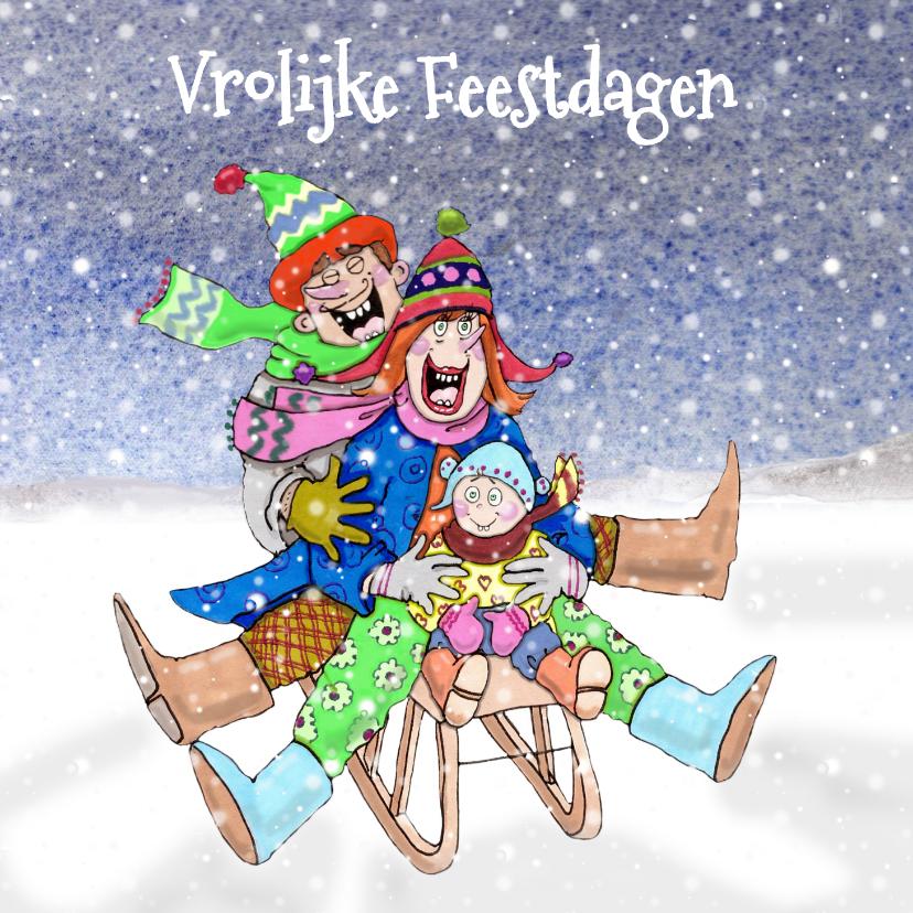 Kerstkaarten - Kerstkaart samen op de slee in de sneeuw
