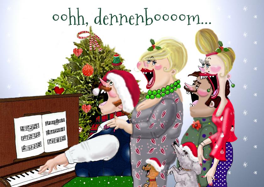 Kerstkaarten - Kerstkaart Samenzang piano met kerstboom