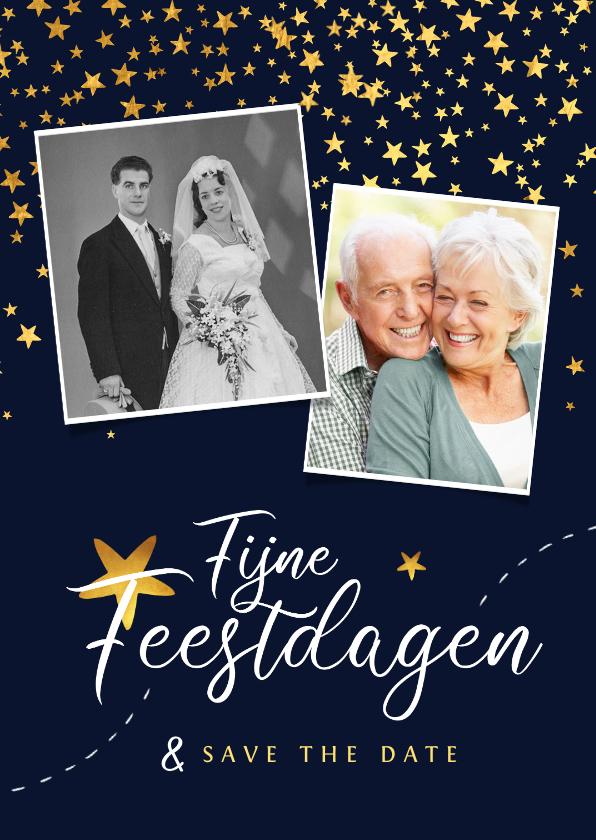 Kerstkaarten - Kerstkaart save the date jubileum sterren goud confetti foto