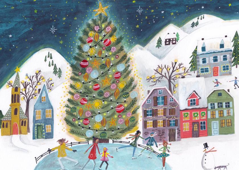 Kerstkaarten - Kerstkaart schaatsen bij de kerstboom