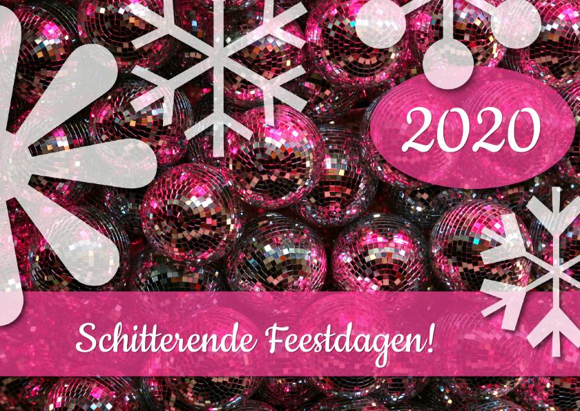 Kerstkaarten - Kerstkaart Schitterende Feestdagen roze 2019