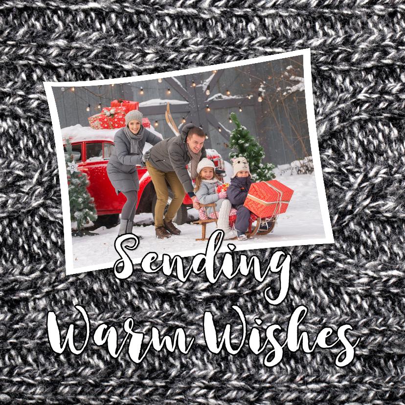 Kerstkaarten - Kerstkaart grappig Sending Warm Wishes Grey