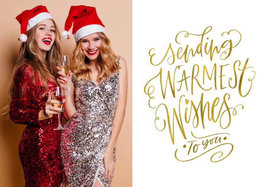 Kerstkaarten - Kerstkaart Sending Warmest Wishes goudlook met eigen foto