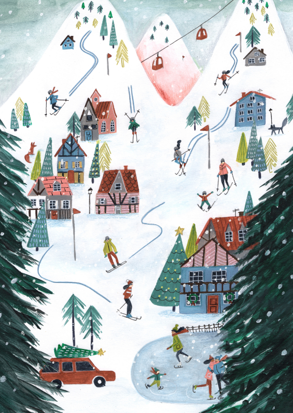Kerstkaarten - Kerstkaart ski landschap illustratie