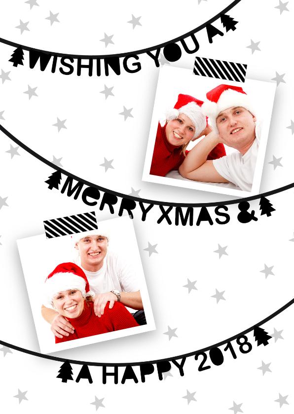 Kerstkaarten - Kerstkaart slinger foto zwartwit