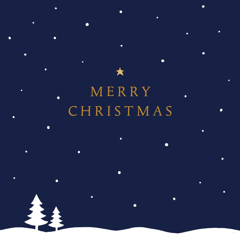 Kerstkaarten - Kerstkaart sneeuw ster stijlvol