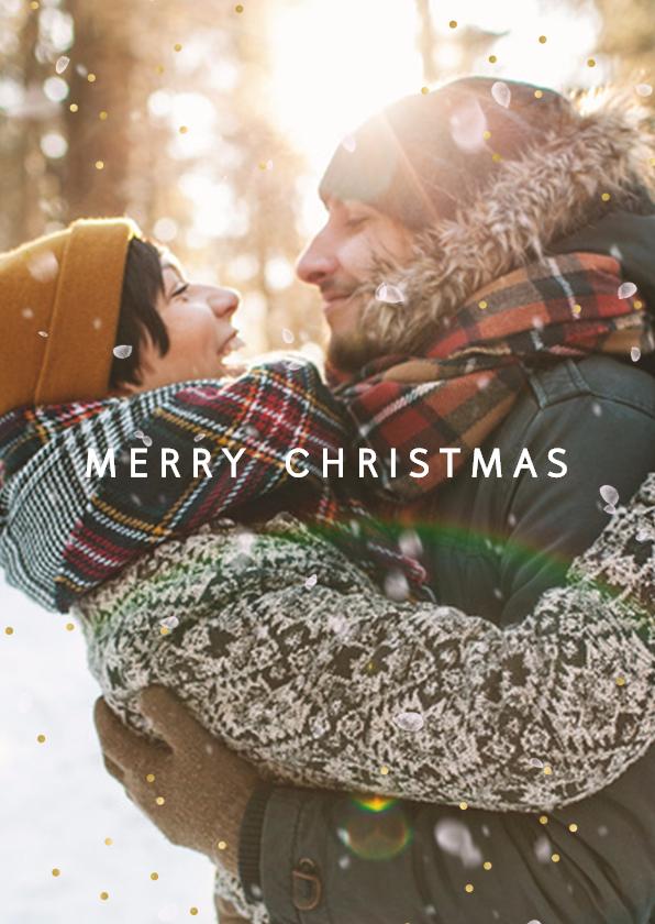 Kerstkaarten - Kerstkaart sneeuweffect en goudstipjes
