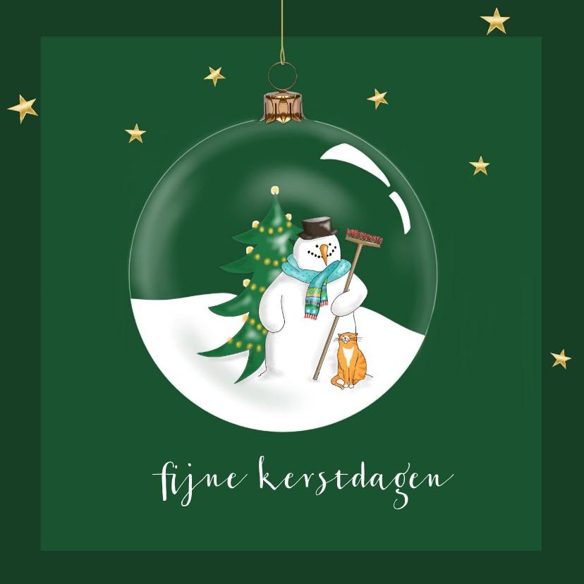 Kerstkaarten - Kerstkaart - Sneeuwman in kerstbal