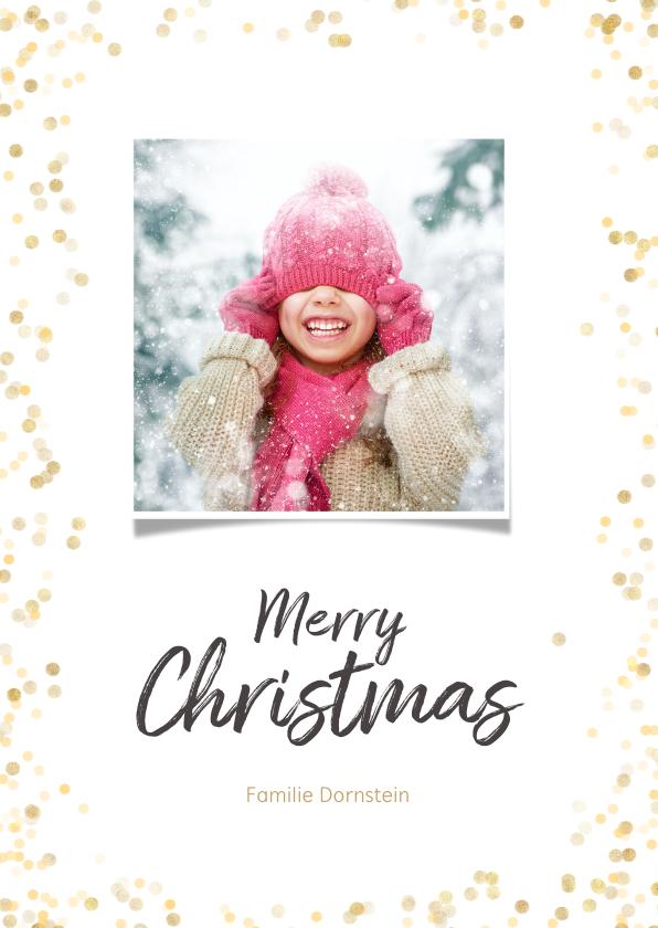 Kerstkaarten - Kerstkaart staand met gouden confetti