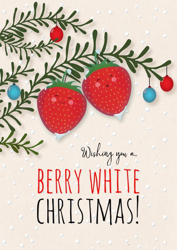 Kerstkaarten - Kerstkaart staand strawberry Berry White Christmas