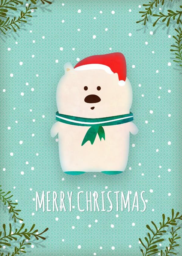 Kerstkaarten - Kerstkaart staand witte ijsbeer