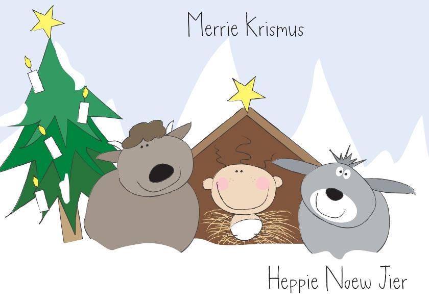 Kerstkaarten - Kerstkaart stalletje met dieren