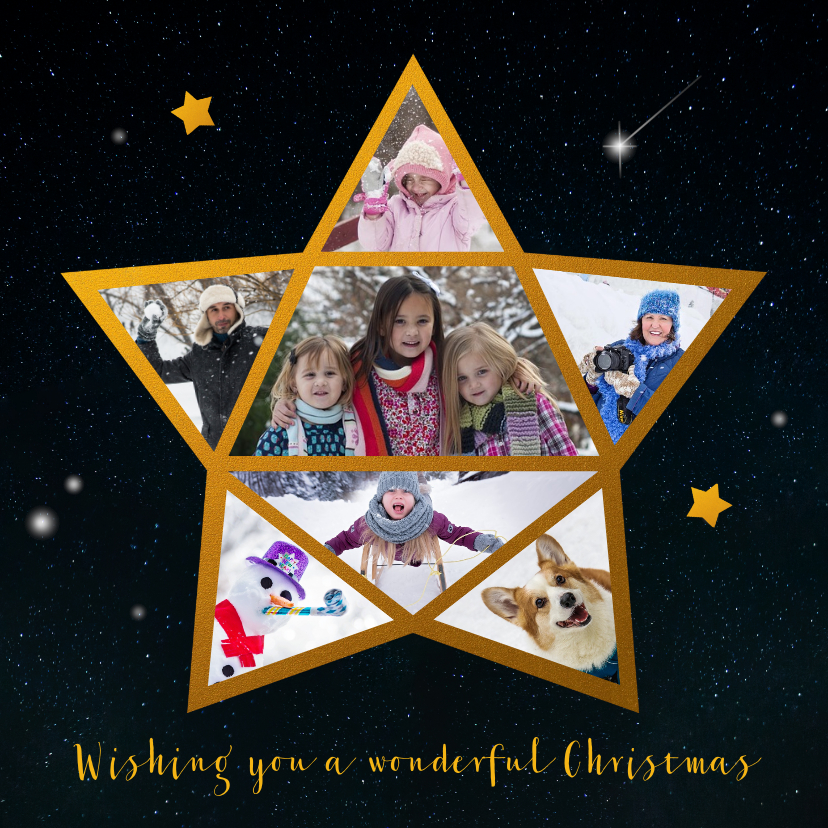 Kerstkaarten - Kerstkaart ster foto collage